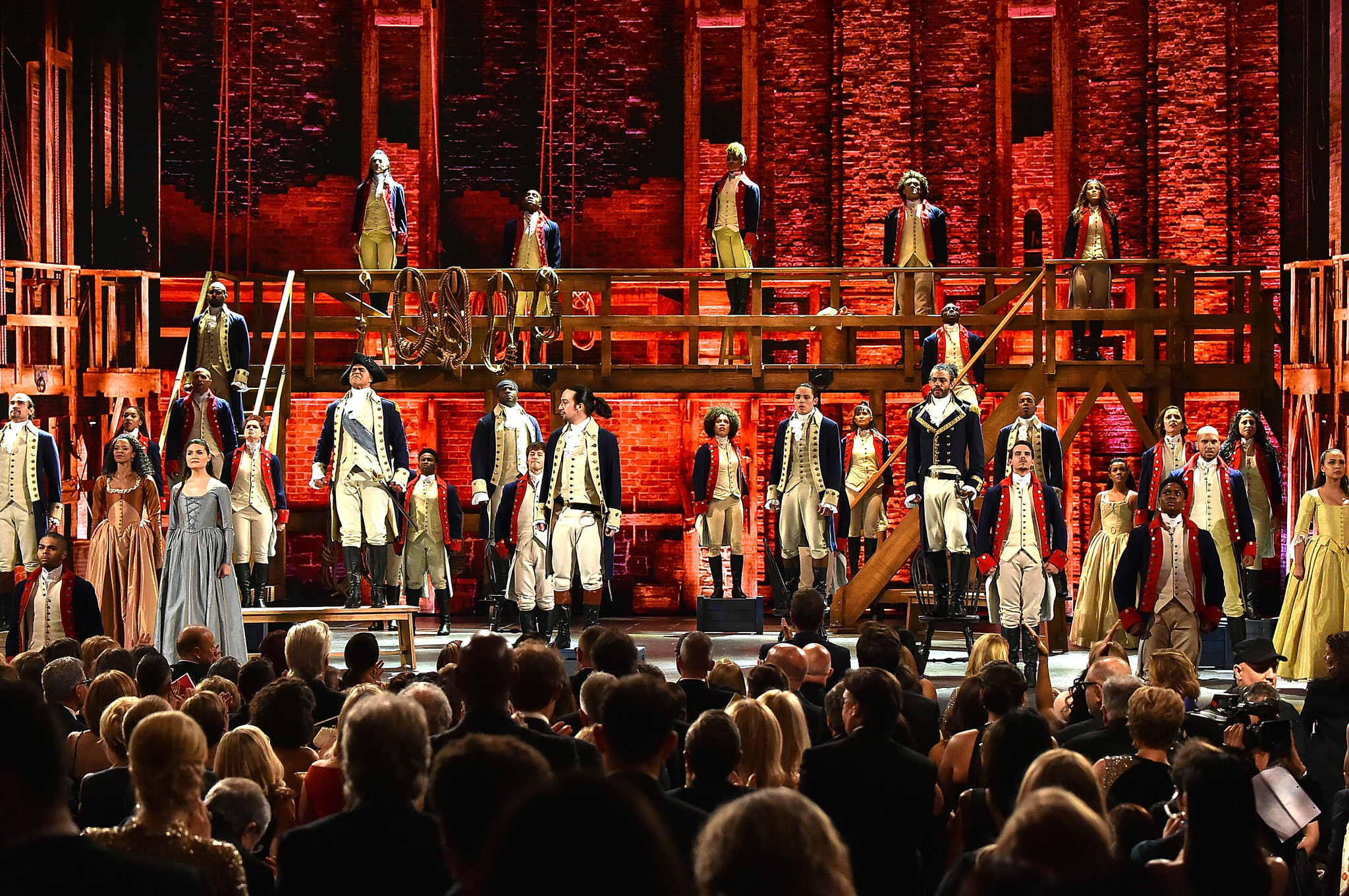 "The cast of ""Hamilton"" performs onstage during the 70th Tony Awards at the Beacon Theatre on June 12 in New York City. (Theo Wargo / Getty Images for Tony Awards Productions)"