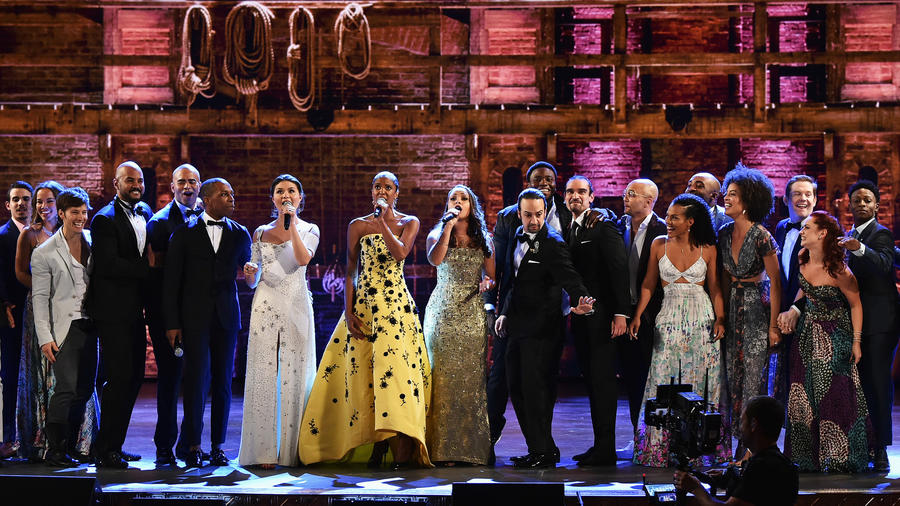 "The cast of ""Hamilton"" performs during the 70th Tony Awards at the Beacon Theatre. (Theo Wargo / Getty Images for Tony Awards Productions)"