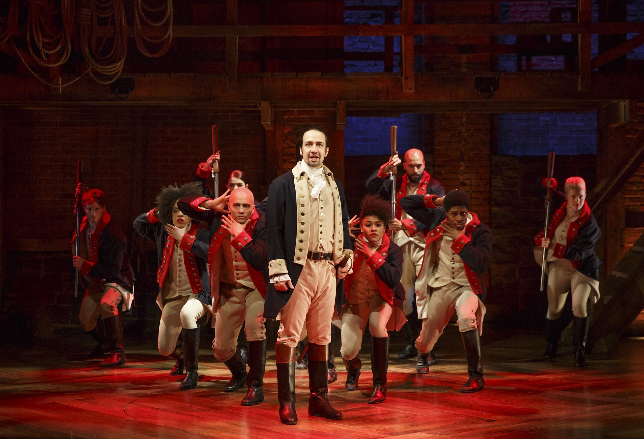 "Lin-Manuel Miranda, center, performs in the musical ""Hamilton"" in New York. (Joan Marcus / Associated Press)"