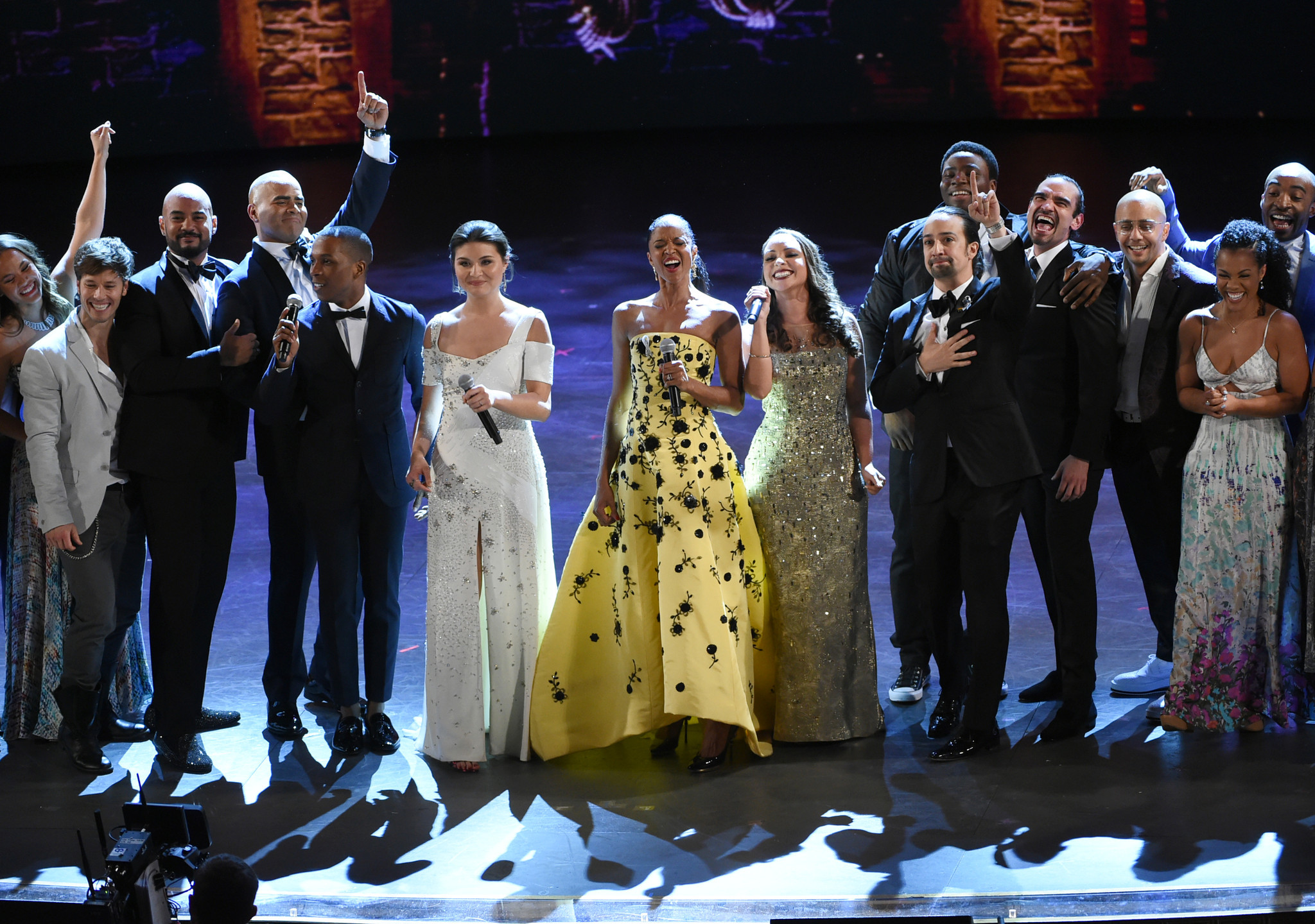 "The cast of ""Hamilton,"" winners of the 2016 award for best musical, perform at the Tony Awards at the Beacon Theatre on Sunday in New York. (Evan Agostini / Invision / Associated Press)"