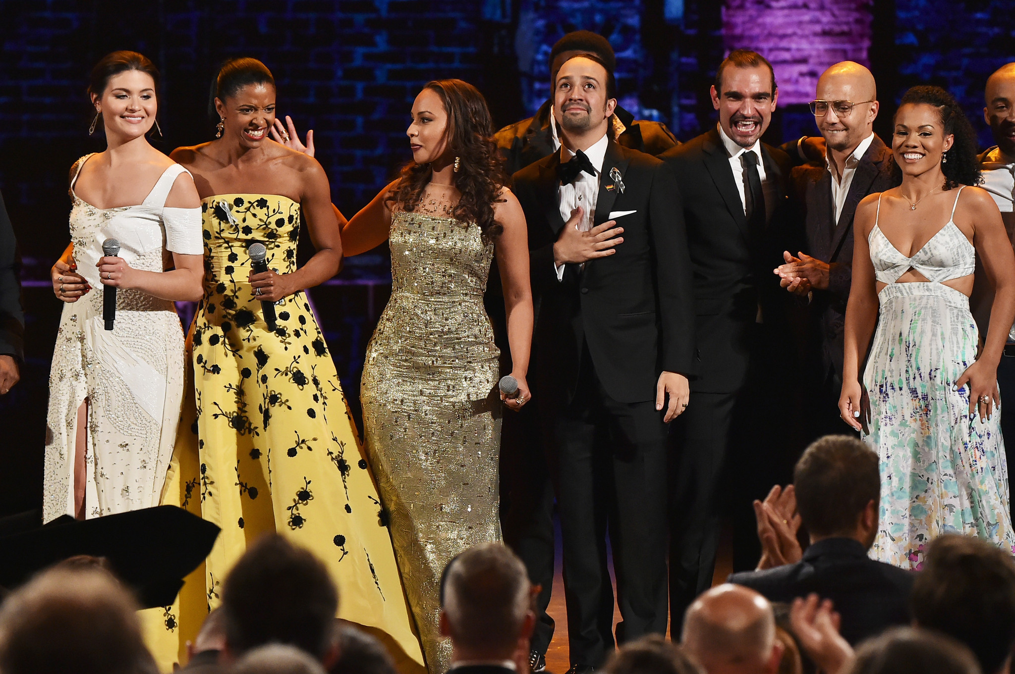 "The cast of ""Hamilton"" performs at the 70th Tony Awards. (Theo Wargo / Getty Images for Tony Awards Productions)"
