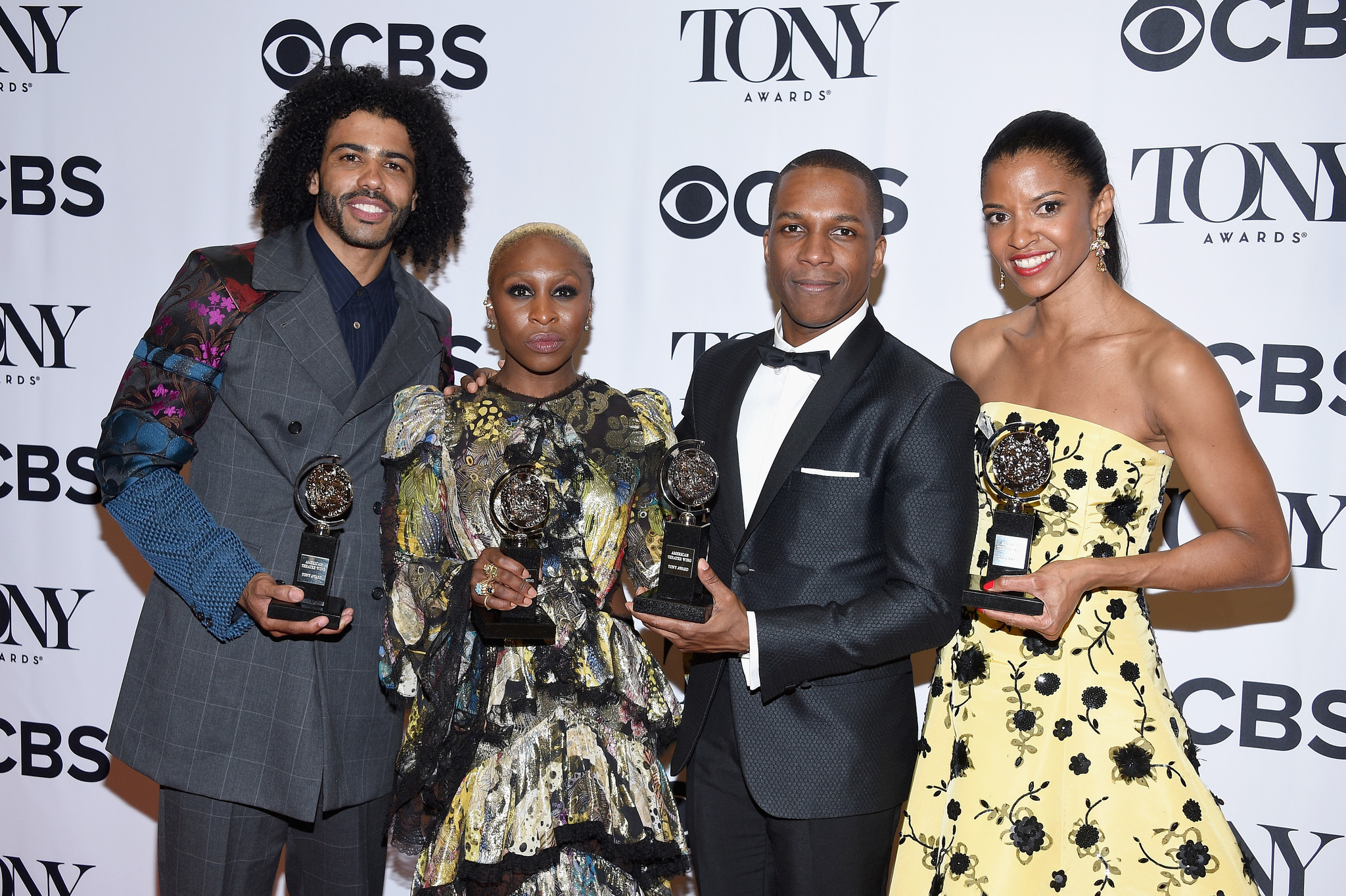 Actors Daveed Diggs, Cynthia Erivo, Leslie Odom, Jr. and Renee Elise Goldsberry pose with awards during the 70th Annual Tony Awards at The Beacon Theatre on June 12 in New York City. (Dimitrios Kambouris / Getty Images for Tony Awards Productions)