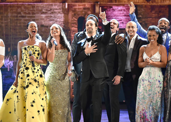 "Lin-Manuel Miranda, center, and the cast of ""Hamilton"" onstage at the Tony Awards on Sunday. (Theo Wargo / Getty Images)"