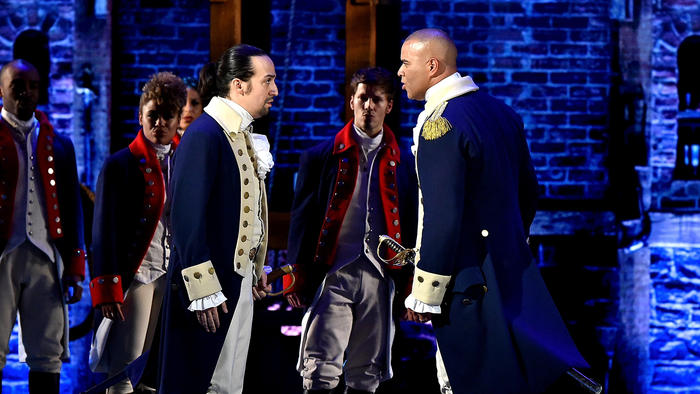 "Christopher Jackson as George Washington, right, and Lin-Manuel Miranda as Alexander Hamilton perform ""Yorktown (The World Turned Upside Down)"" at the Tony Awards. (Getty Images)"