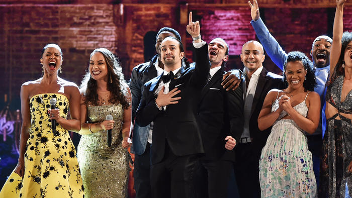 "Lin-Manuel Miranda, center, and the cast of ""Hamilton"" at the 70th Tony Awards. (Theo Wargo / Getty Images)"