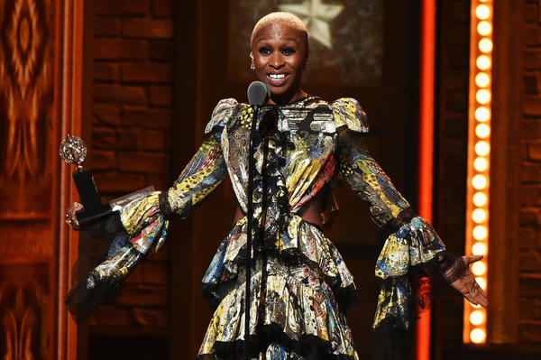 Cynthia Erivo accepts her Tony for lead actress in a musical. (Theo Wargo / Getty Images)