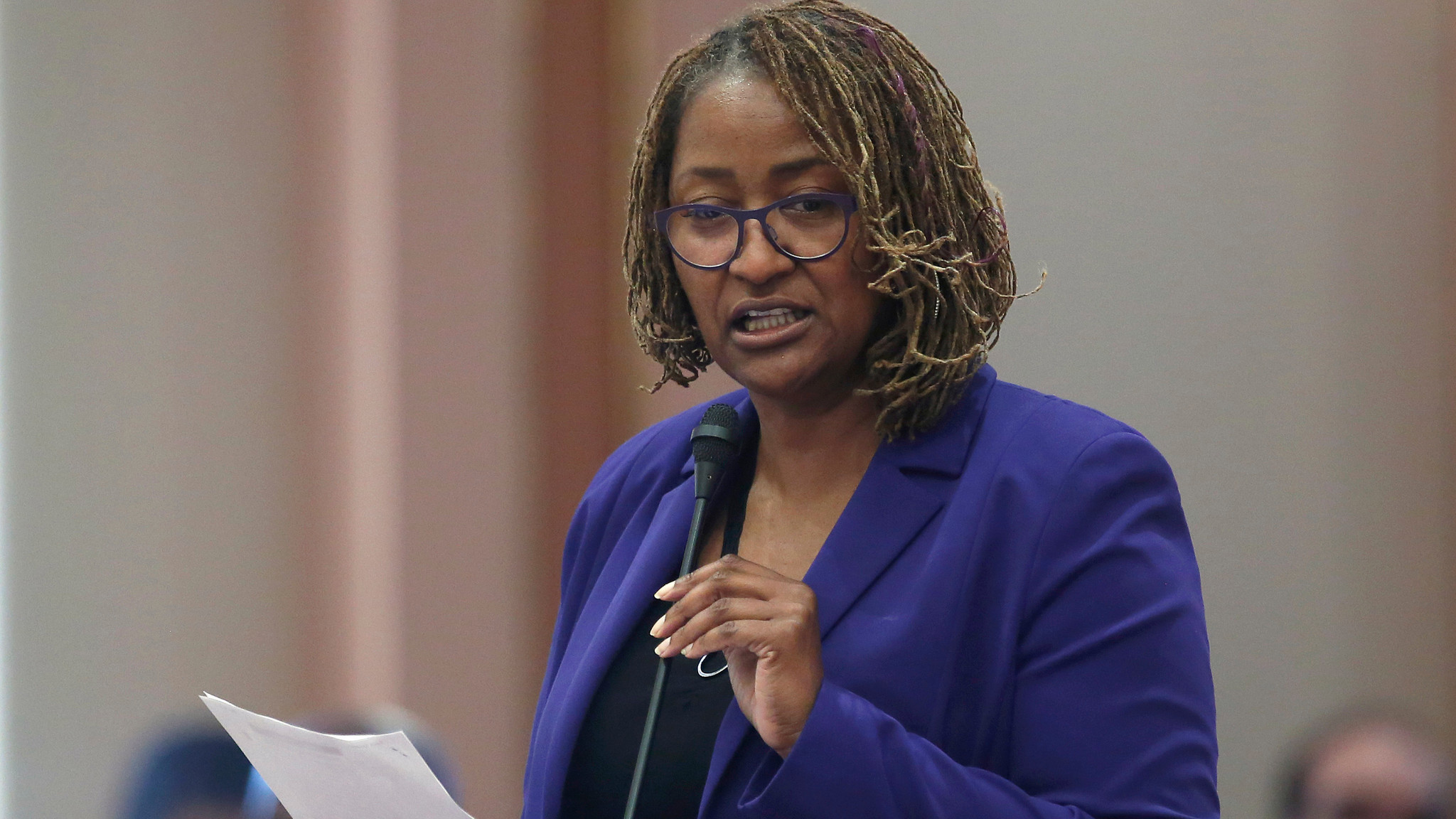 State Sen. Holly Mitchell (D-Los Angeles) says she's concerned about banks being unwilling to handle marijuana sales revenue because the drug is still illegal under federal law. (Rich Pedroncelli / Associated Press)