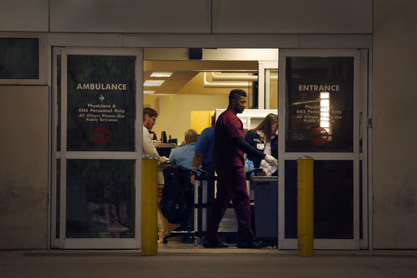 The emergeny room entrance to Orlando Regional Medical Center, where over 40 patients were treated in the aftermath of the Pulse attack. (Carolyn Cole/Los Angeles Times)
