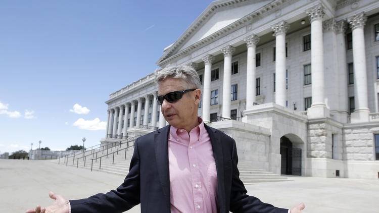 Libertarian Party presidential candidate and former New Mexico Gov. Gary Johnson leaves the Utah Capitol in Salt Lake City. (Rick Bowmer / Associated Press)