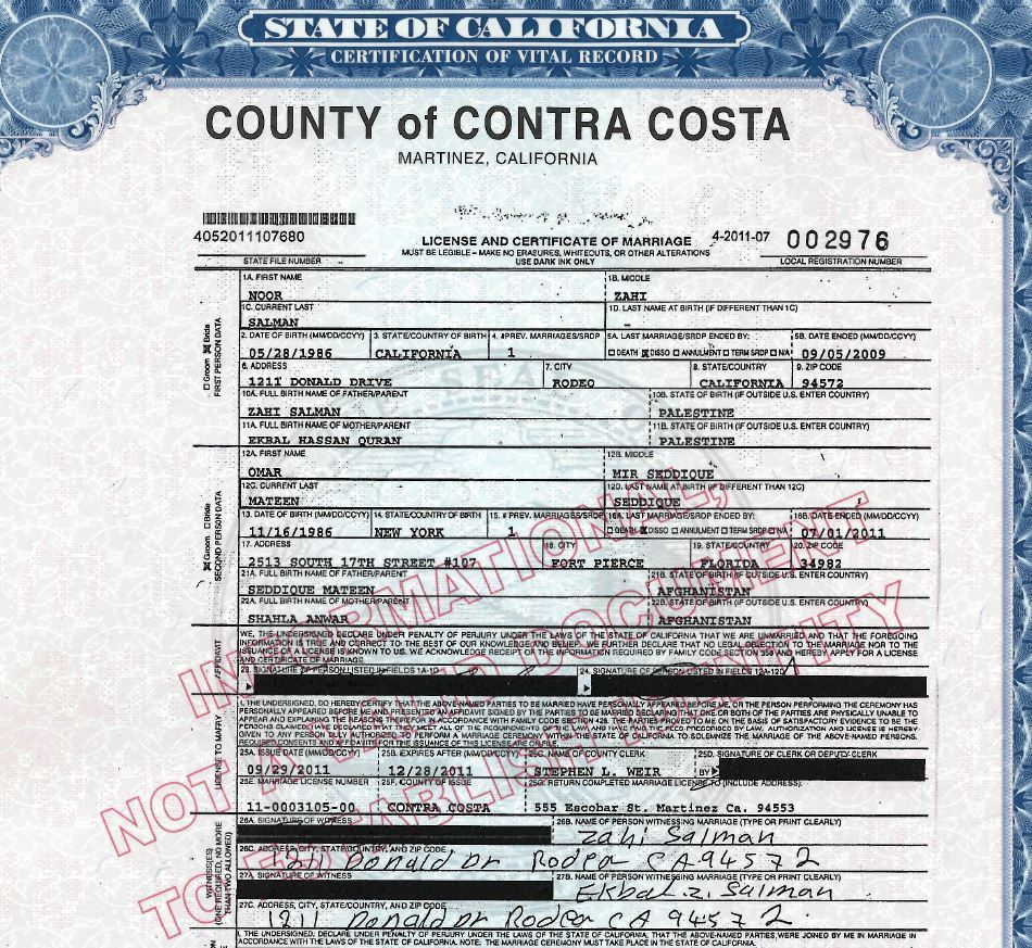 Marriage certificate shows orlando shooter married wife months marriage certificate shows orlando shooter married wife months after divorce sun sentinel aiddatafo Images