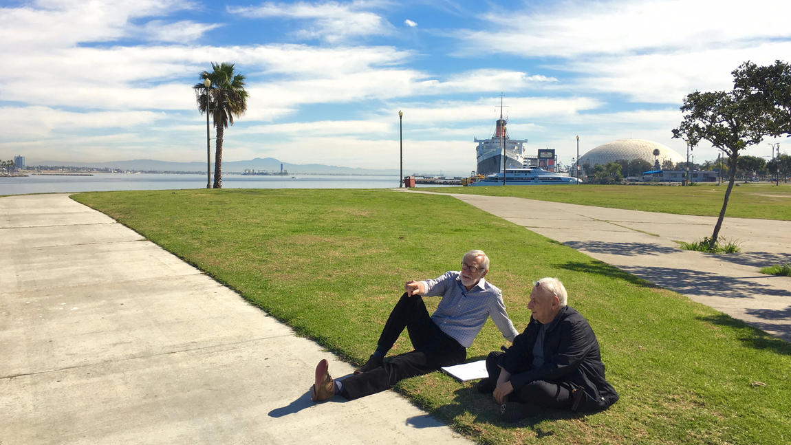 Landscape architect Laurie Olin, left, and architect Frank Gehry, in Long Beach, contemplating their new master plan for the Los Angeles River.