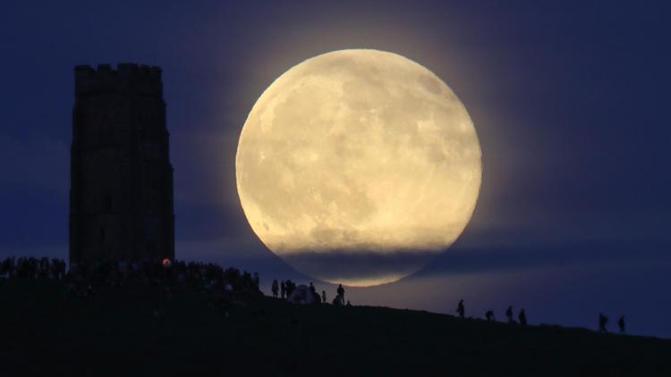 Strawberry moon in Glastonbury England