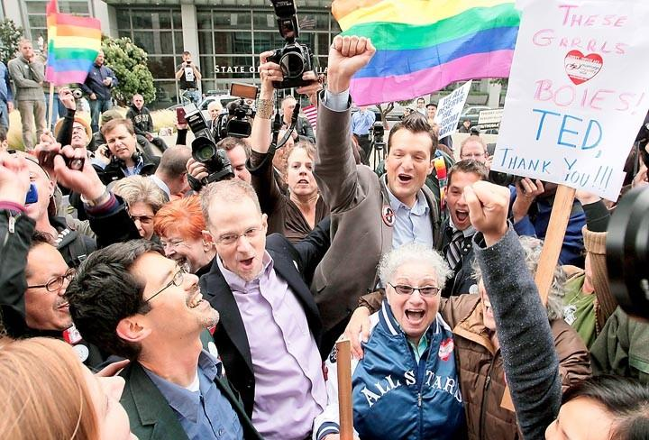 Opponents of Proposition 8 cheer after federal judge in San Francisco overturned California's same-sex marriage ban in 2010.