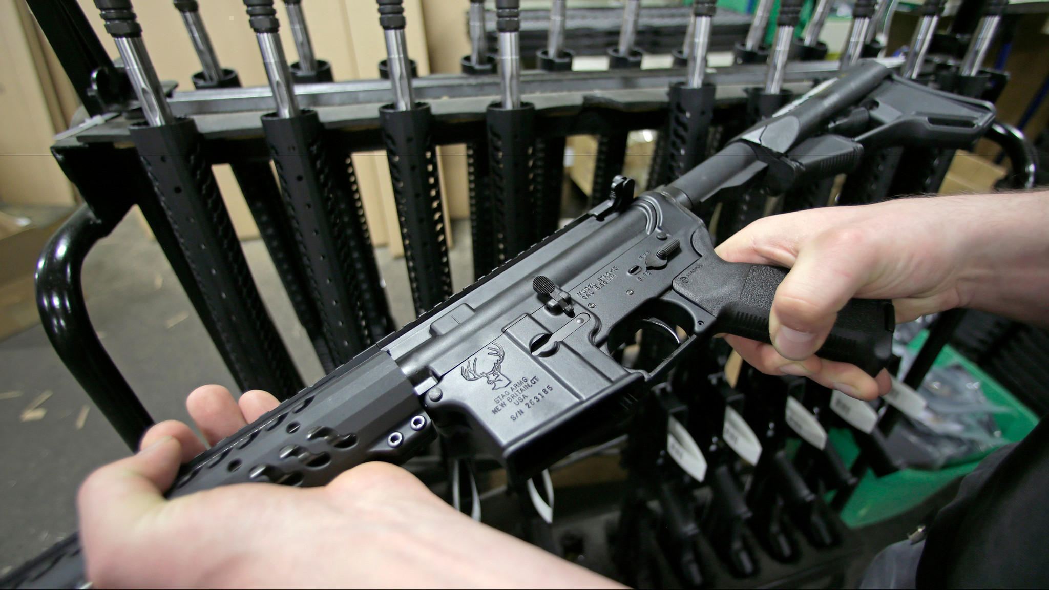 An AR-15 semiautomatic assault-style rifle. (Charles Krupa / Associated Press)