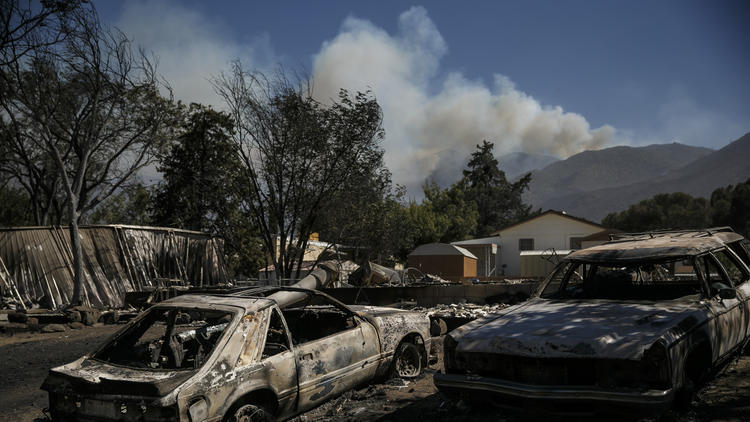 The fire tore through homes and charred cars in Lake Isabella.