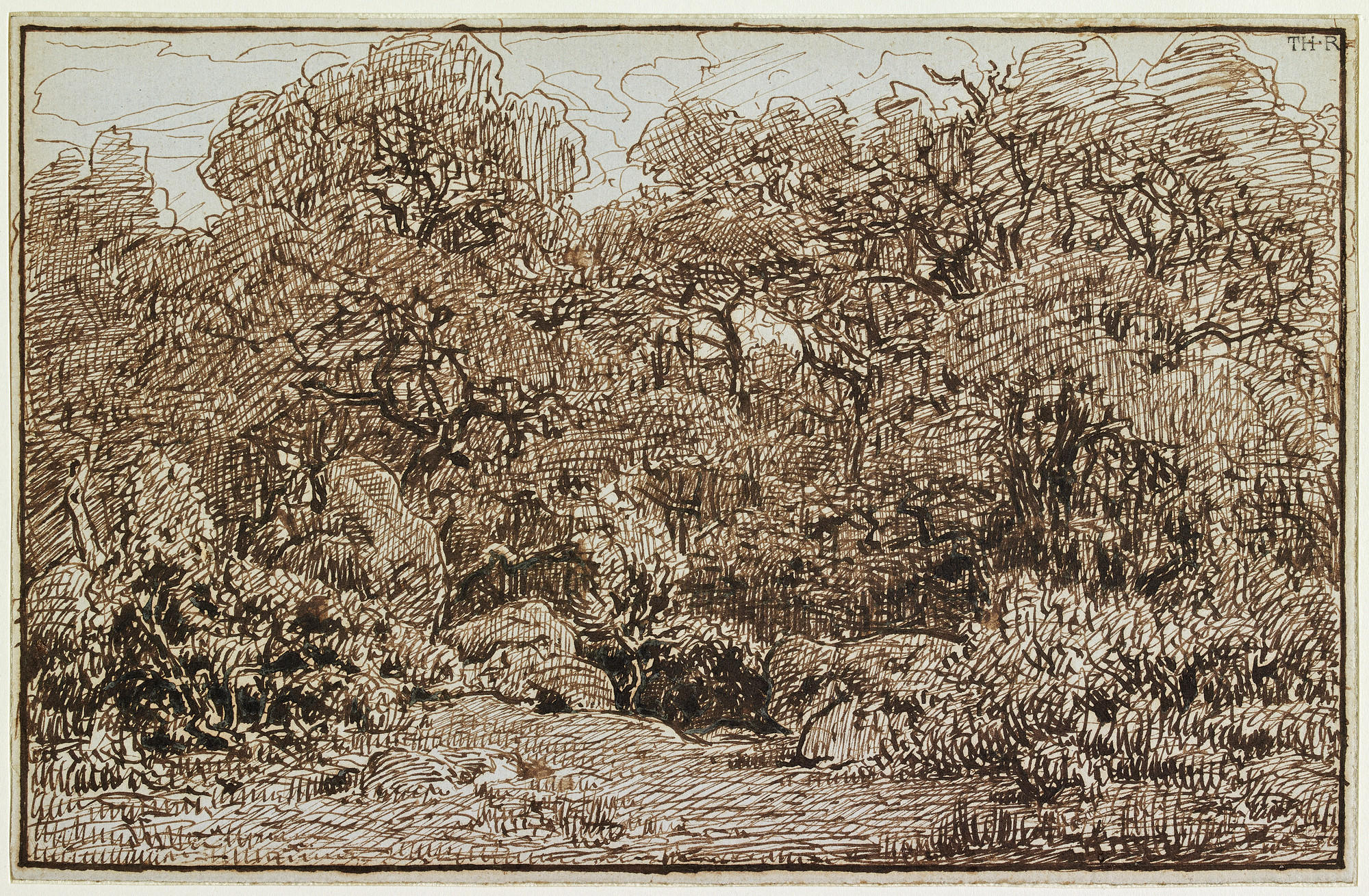 "Theodore Rousseau's ""Entrance to the Old Forest of the Reine-Blanche,"" about 1860, ink on paper."