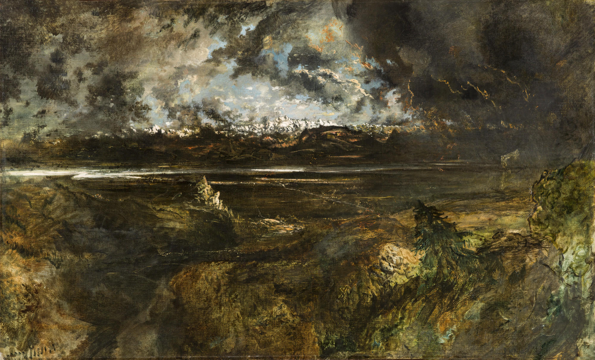 """Theodore Rousseau's """"Mont Blanc Seen From La Faucille, Storm Effect,"""" begun 1834, oil on canvas."""