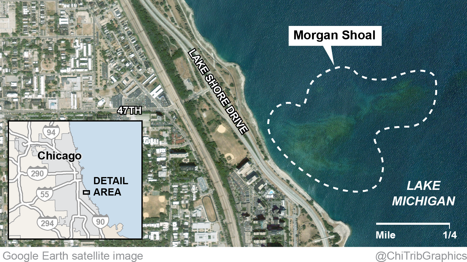Morgan Shoal Where It Is And What Lives There Chicago Tribune - Chicago map satellite