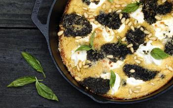 Farinata with pesto and ricotta