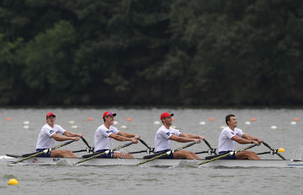 Russia's quadruple sculls team, including Sergey Fedorovtsev, competes in the 2013 world rowing championships in South Korea. (Chung Sung-Jun / Getty Images)