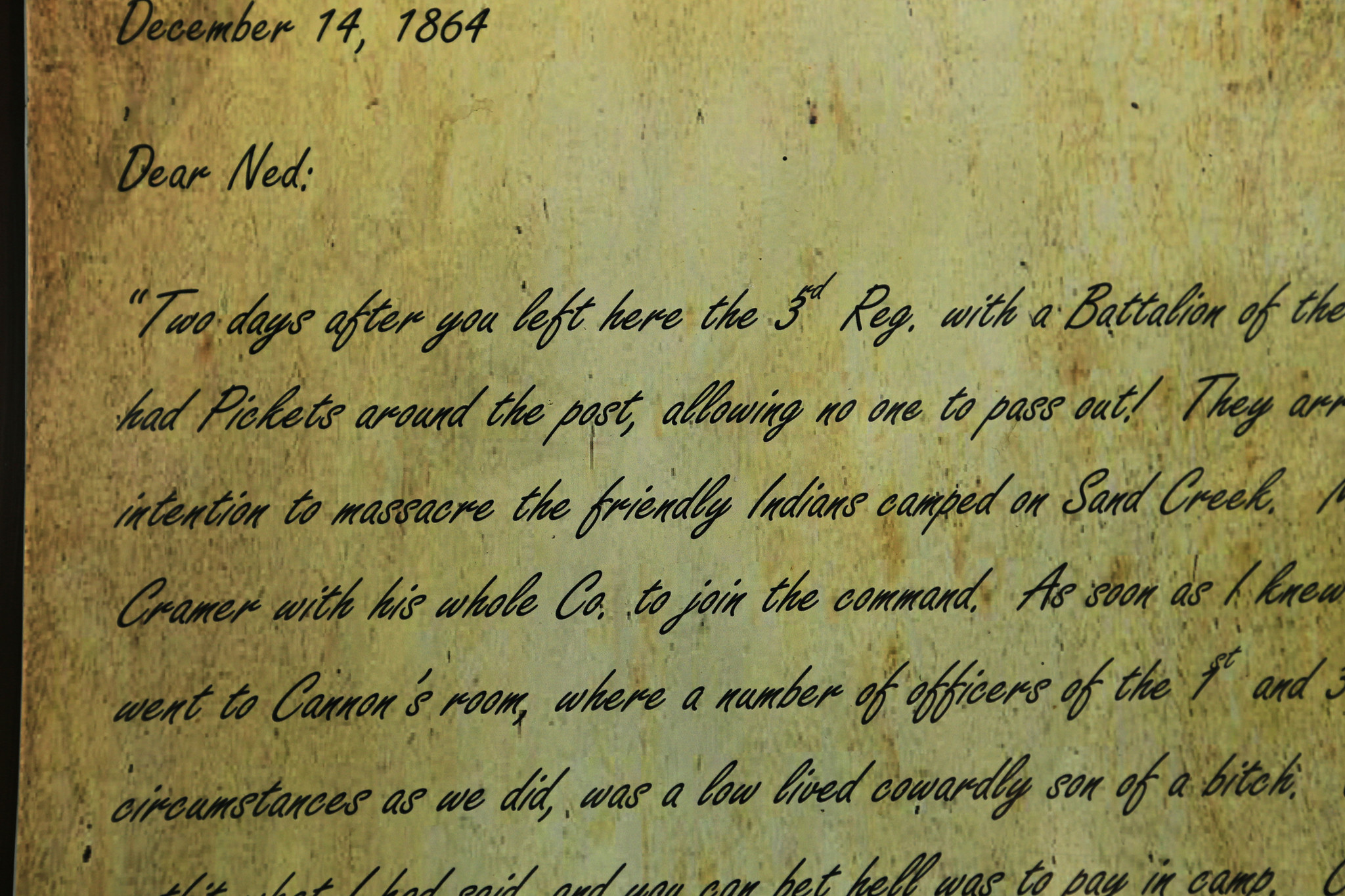 A detail of a letter written by a witness of the massacre.