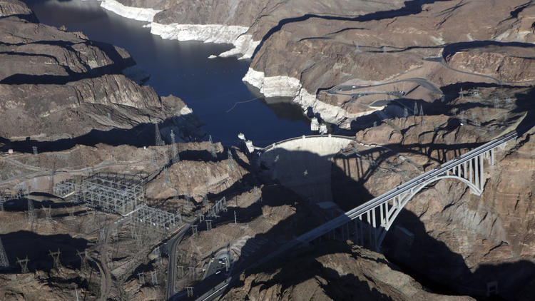 "The water level in Lead Mead and against the Hoover Dam shows a ""bath tub ring"" on Oct. 15, 2015."