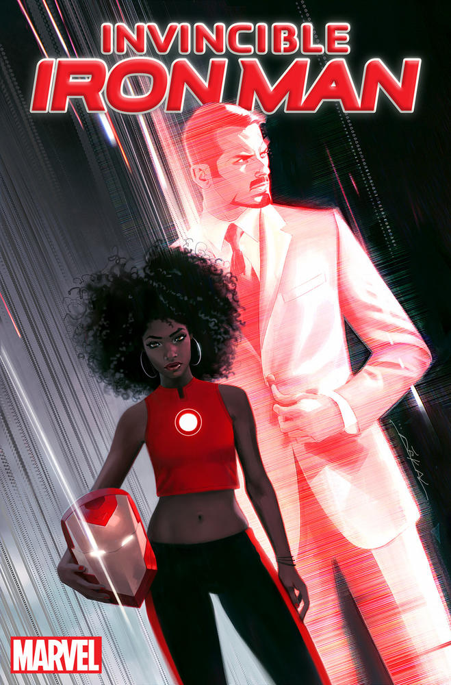 """The cover of """"Invincible Iron Man"""" with Riri Williams."""