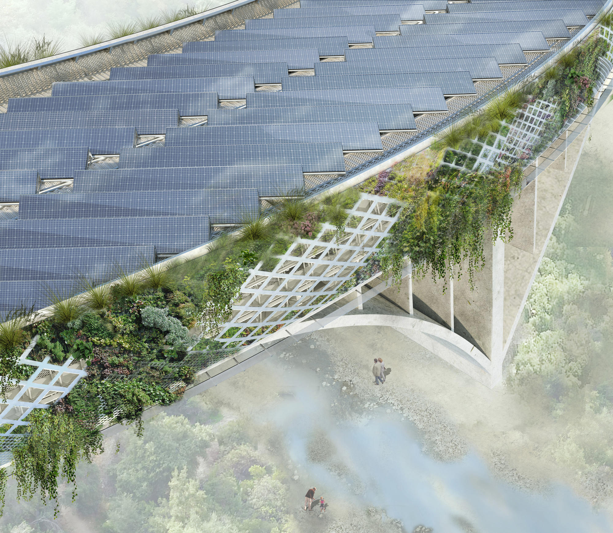 L.A. architect Michael Maltzan's proposes to put photovoltaic panels along the top of the 134 Freeway.