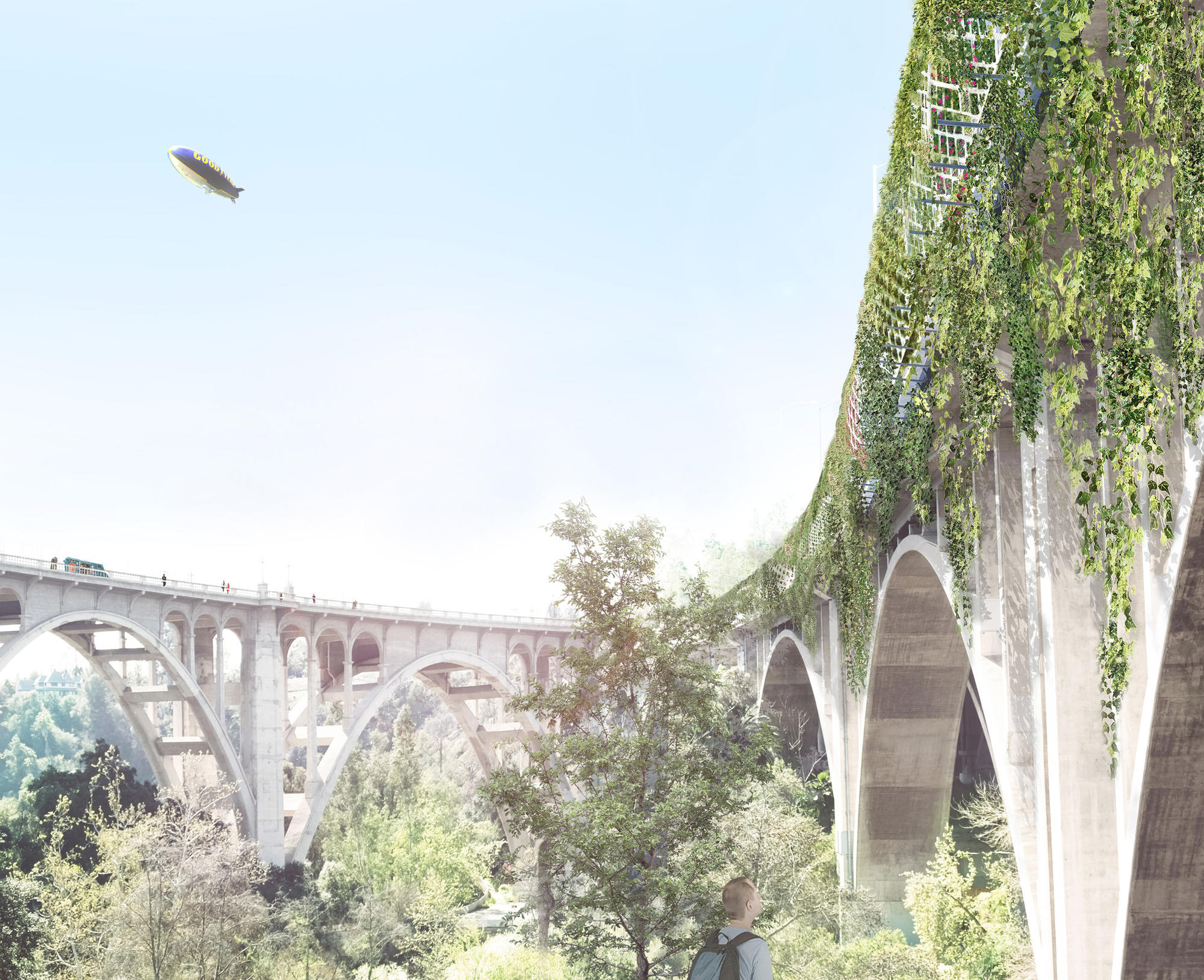 A rendering view from below of architect Michael Maltzan's plan to wrap the 134 Freeway as it crosses the Arroyo Seco in Pasadena with a tunnel-like form.