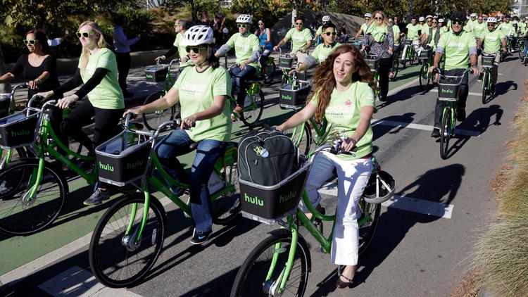 Riders on Santa Monica's bike-share system. (Nick Ut / Associated Press)