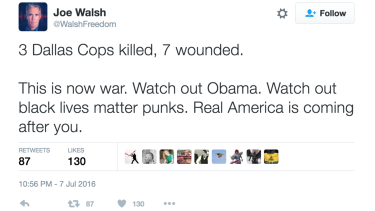 Joe Walsh's tweet