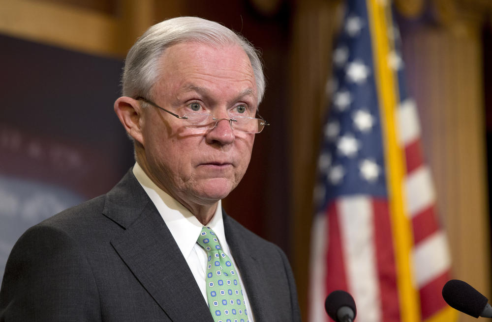 Sen. Jeff Sessions (R-Ala.) speaks during a news conference on Capitol Hill  to discuss the Supreme Court's immigration ruling.
