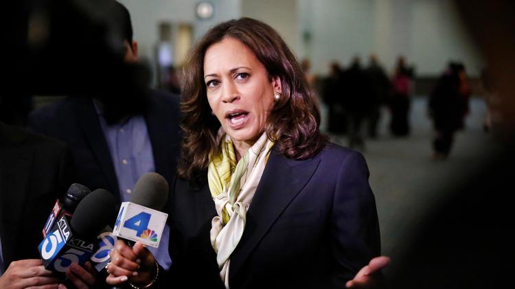 California Atty. Gen. Kamala Harris, who is running for U.S. Senate, speaks to reporters in July. (Al Seib / Los Angeles Times)