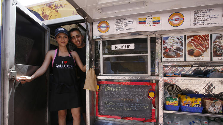 Angela Channell and Johnny Cornejo at their Cali Fresh food truck.