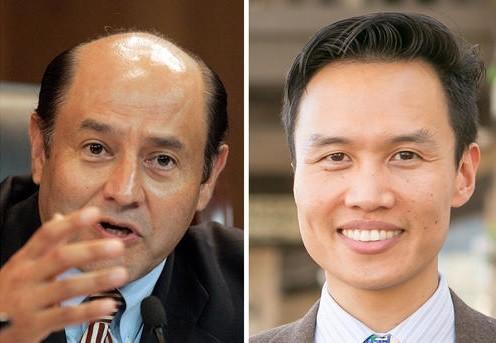 Lou Correa, left, and Bao Nguyen (Don Kelsen / Los Angeles Times; Courtney Lindberg)