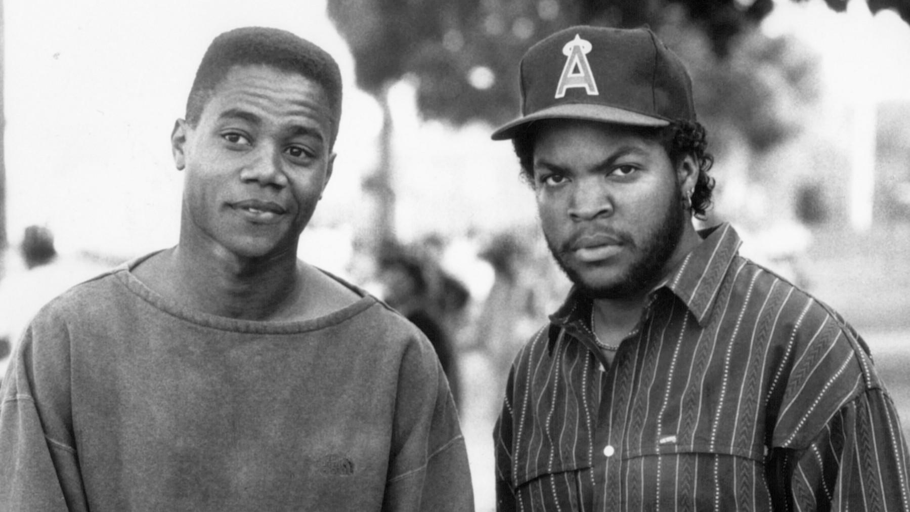 "Cuba Gooding Jr., left, and Ice Cube in the movie ""Boyz N the Hood."""