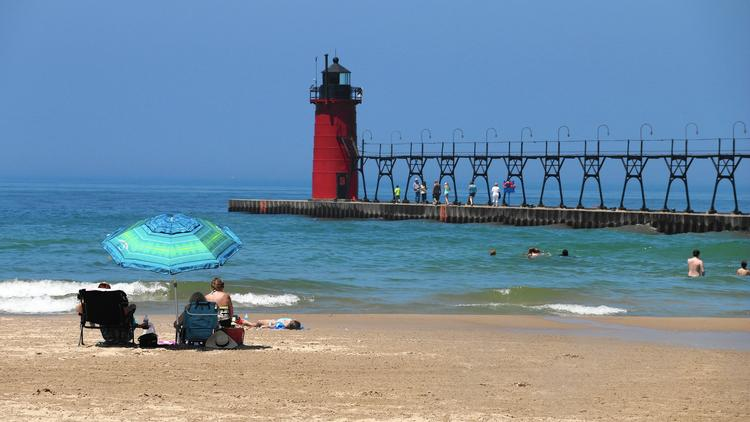 The iconic red Lighthouse at South Haven's South Beach