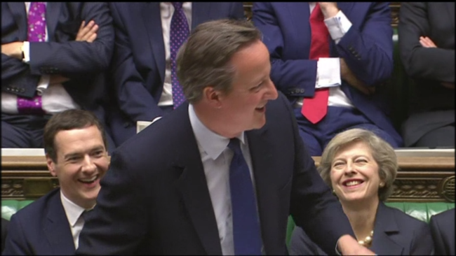 Cameron receives standing ovation in Parliament