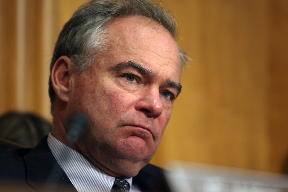 Senate Foreign Relations Committee member Sen. Tim Kaine (D-Va.) listens on Capitol Hill.