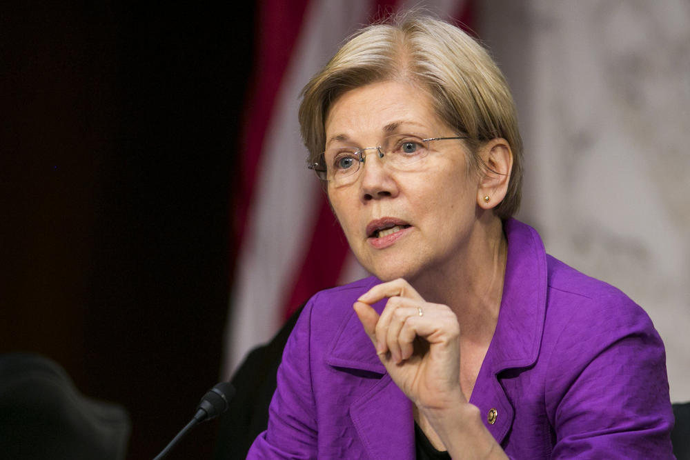 Sen. Elizabeth Warren addresses a witness during a Senate Special Committee on Aging hearing in Washington, D.C.