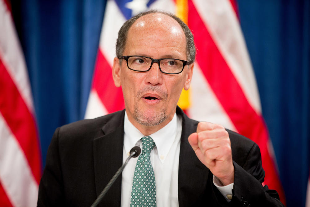 U.S. Labor Secretary Thomas Perez speaks at a news conference at the Treasury Department in Washington, D.C.
