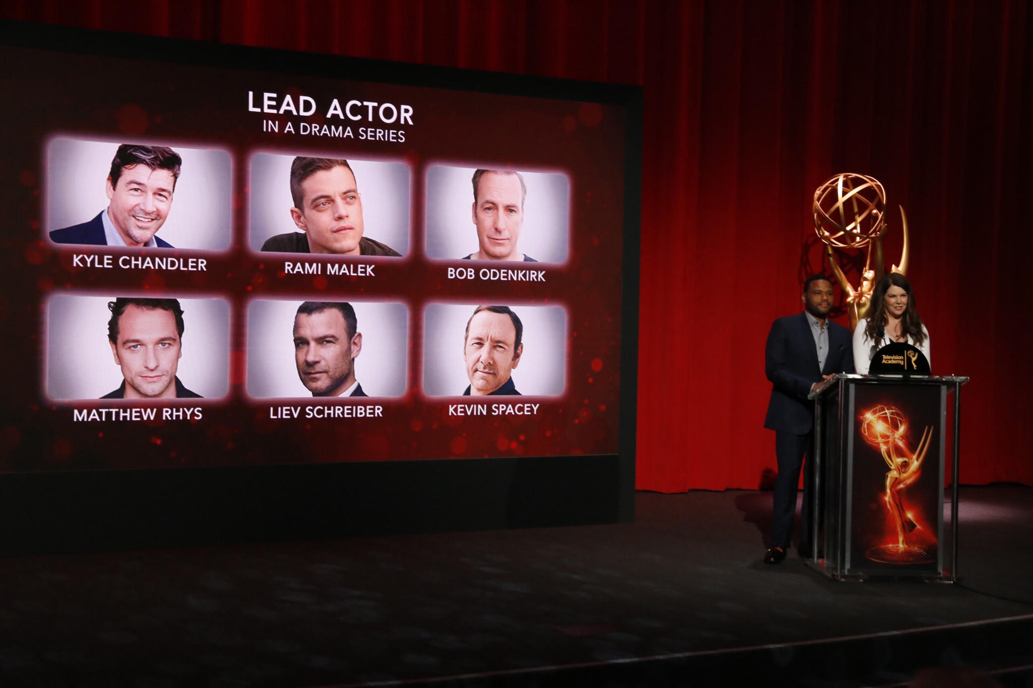 Anthony Anderson and Lauren Graham announce the nominees for the 68th Primetime Emmy Awards. (Al Seib / LA Times)