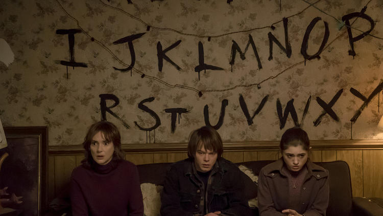 "Winona Ryder, left, Charlie Heaton and Natalia Dyer in Netflix's ""Stranger Things."" (Netflix)"