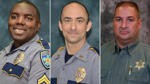 From left: Officers Montrell Jackson, 32, and Matthew Gerald, 41, of the Baton Rouge Police Department, and Deputy Brad Garafola, 45, of the East Baton Rouge Parish Sheriff's Office. (Baton Rouge Police Department . East Baton Rouge Parish Sheriff's Office)