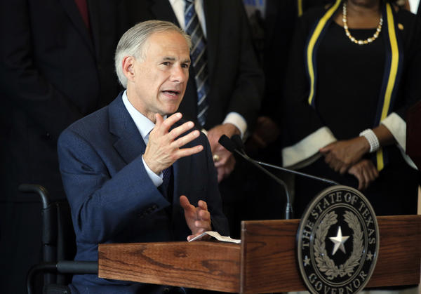 Texas Gov. Greg Abbott discusses police shootings in Dallas during a news conference on July 8. (Tony Gutierrez / Associated Press)
