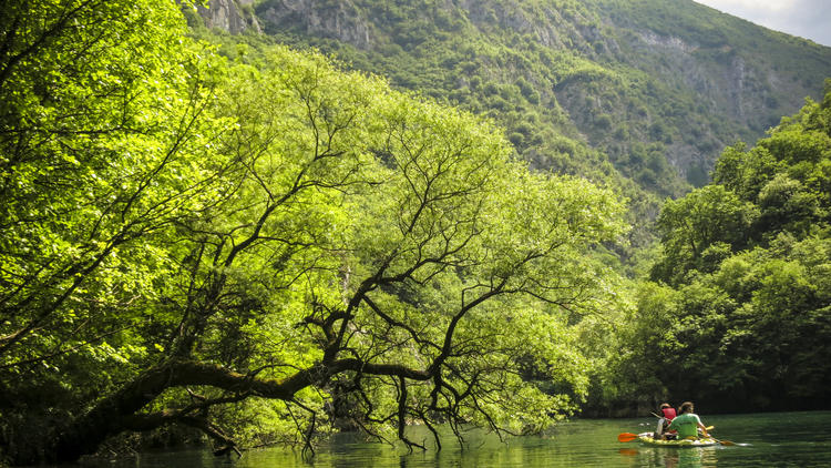 Kayakers on Matka Lake outside the Macedonian capital of Skopje