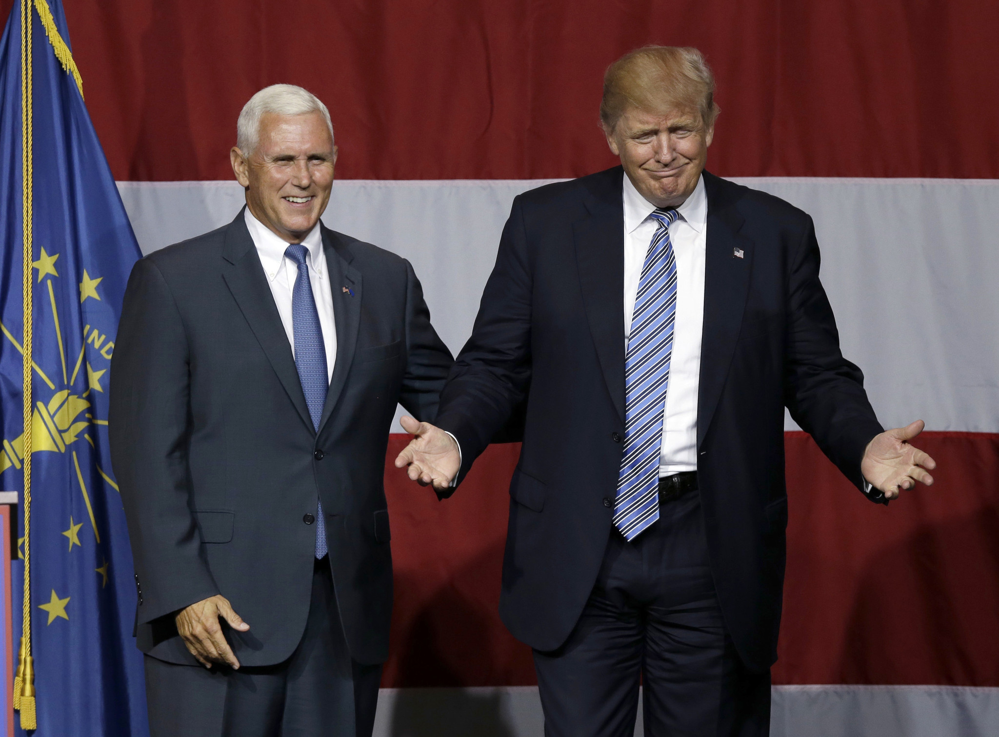 Pence introduces Trump at Indiana rally that doubles as VP audition