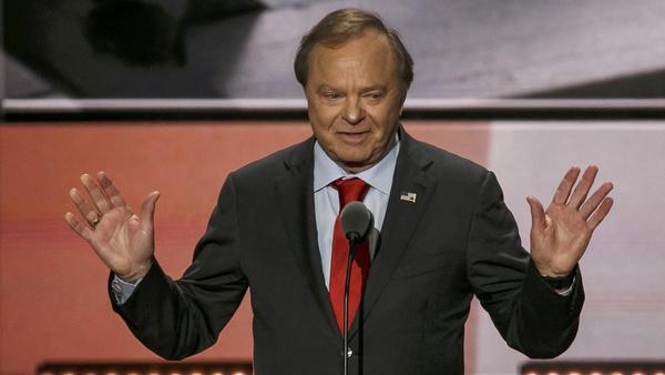 "Harold Hamm of Continental Resources, says ""climate change is not a problem, it's Islamic terrorism,"" in his speech to the 2016 Republican National Convention in Cleveland on July 20. (Marcus Yam / Los Angeles Times)"