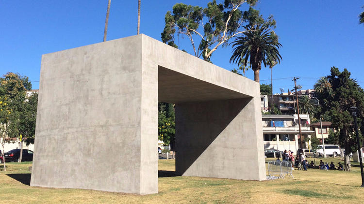 """La Sombra (The Shade),"" by Teresa Margolles at Echo Park Lake is part of ""Current: LA Water."""