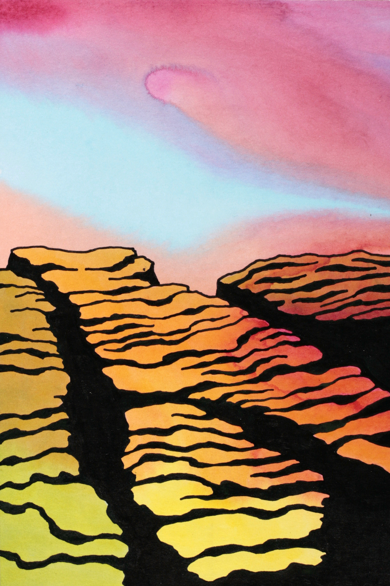 "Ken Price's ""Barren Rock,"" 2006, acrylic and ink on paper, 9 by 6 inches."